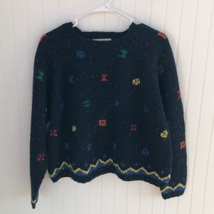 Express | Navy Blue Abstract Wool Sweater Small